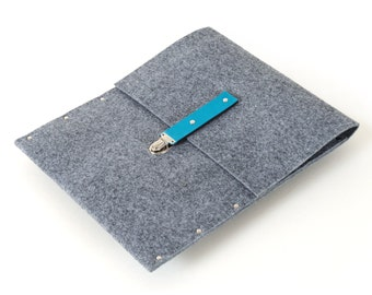 MacBook 13 inch Retina Sleeve Case Cover grey felt leather briefcase handmade by SleeWay
