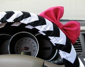 Steering Wheel Cover Bow, Black and White Chevron Steering Wheel Cover with Hot Pink Bow, Black Chevron Wheel Cover and Pink Bow BF11080