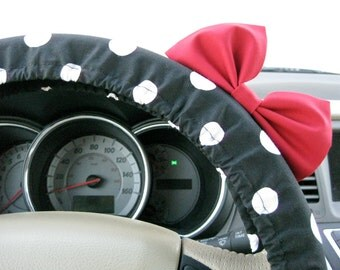 Steering Wheel Cover Bow, Large Black and White Polka Dot Steering Wheel Cover with Red Bow BF11074