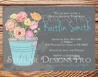 Garden Bridal Shower Invitation,Vintage Garden Shower Invitation,Gray, Neutral, Blue, Green, Purple, Wedding Shower Invitation, 5194