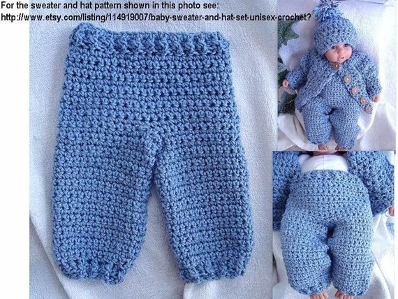 Crochet Pants : Instant Download PDF Crochet Pattern Long Pants for Baby, Toddler ...