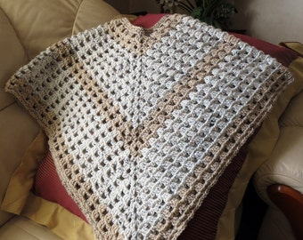 Beige and Tan Poncho - One Size Fits Most - Item 3001