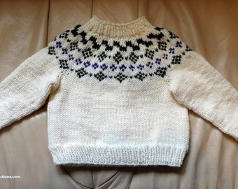 Baby Sweater and Hat Set - White Green Purple Fair Isle Intarsia Hand Knit - 18 months - First Birthday Christmas Baby Shower - Item 3019