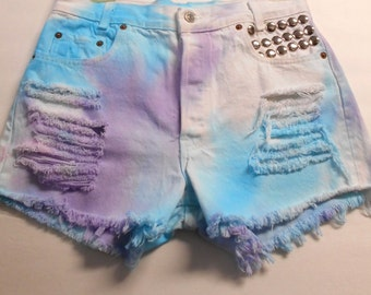 Vintage LEVIS High Waisted TIE  Dyed  Denim Shorts - Studded ---Waist 29  inches