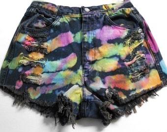 Vintage High Waisted TIE  Dyed  Calvin Klein Denim Shorts -  ---Waist 26  inches