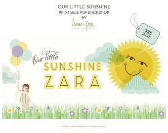 Our Little Sunshine (girl)  PDF Printable Backdrop