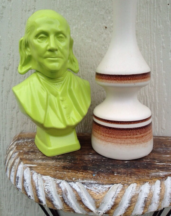 Lime Green Head Statue-Figurine-Office Statue-Unisex Gifts--Head Statue-Old Fashion-Vintage Look-50 Percent SALE-Under 20
