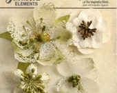 Ivory cream flowers - beautiful textured blossom with  embellished centers  (4pcs) - vintage rustic embellishment flowers - 1256-200