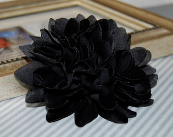 Black Fabric flower   - 4''  large silk fabric flower - flat back  Dahlia Silk Flower