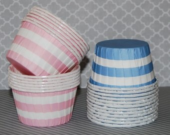 Pink  or Blue Stripe Candy Cups Nut cups Grease proof  Baking cupcake liners  muffin cups  Ice cream dessert portion cups - 24 count