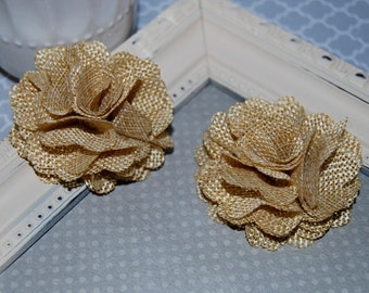 Flax Fabric Flowers - Beige Tan linen Burlap fabric flowers (2 pcs) - use for headbands - hair hat shoe clips  rustic vintage decorations