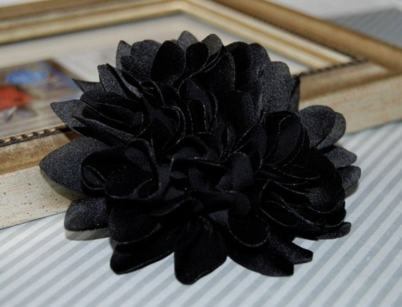 black fabric flower 4u0027u0027 large silk fabric flower flat back dahlia silk flower from on etsy studio