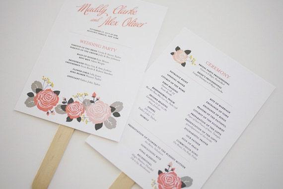 Pink Rose Wedding Program Template Printable by 3EggsDesign