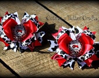 Red tractor Pigtail Hairbows, set of two, Red Tractor Boutique Hair Bows, Cow print and Bandana print