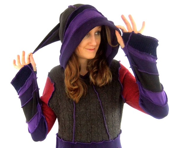 Purple pixie hoodie - One of a Kind - Medium - Ready to Ship