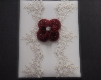 Memory Album Wedding Dark Red Ivory Lace