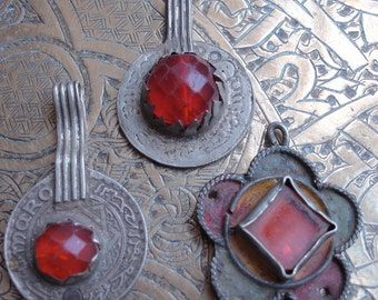 3 x Moroccan gold and orangey red glass jewel coins