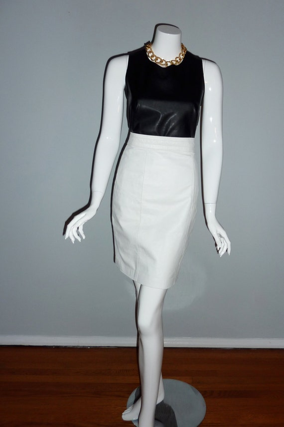 white leather pencil skirt s by saintemarievintage on etsy