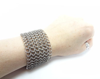 Extra Wide Metal Bracelet - Handmade Chainmaille