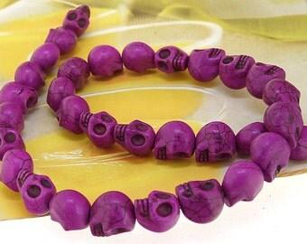 "12mm gemstones Loose purple  turquoise skull beads stone FULL STRAND 16"""