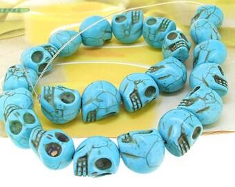 "17mm gemstones Loose  turquoise skull beads stone FULL STRAND 16"""