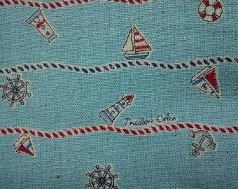 Sea motif, on aqua, fat quarter, cotton linen blended fabric