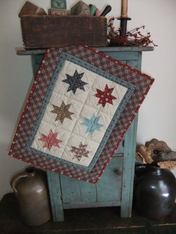 Little Stars Quilted Wall Hanging Table Runner Doll Quilt Reproduction