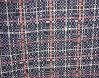 SALE  GORGEOUS  Geometric  Vintage Japanese Kimono wool and silk blend  Block pattern  15 x 52 inches