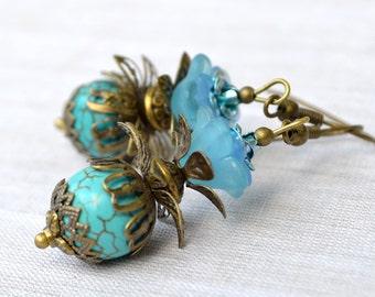 Christmas sale Christmas gift dangle earrings drop earrings beadwork earrings Baroque Romantic bronze cone vintage Scepter turquoise vintage