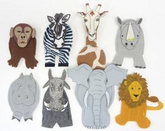 Finger Puppets Safari Hut African Animals back to school teachers aid clearance sale was 29.95