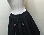 1980s Black Rockabilly Bubble Skirt / Cowgirl Mini Skirt / Southwest pattern inserts - size medium to large