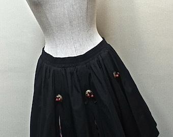 1980s Black Rockabilly Bubble Skirt / Cowgirl Mini Skirt / Southwest pattern inserts - size medium to large