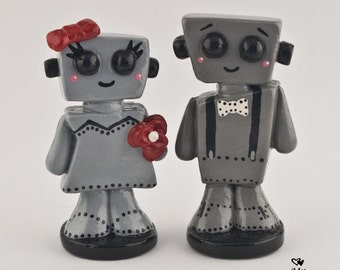 Love Bots Bride and Groom Wedding Cake Topper
