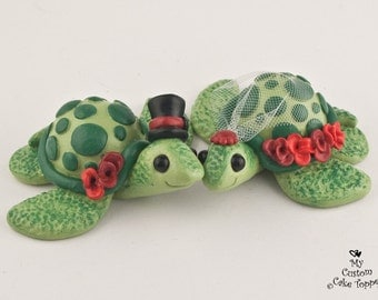 Love Turtles Custom Wedding Cake Topper Bride and Groom