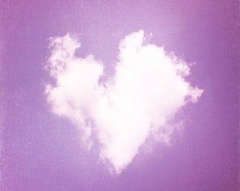 Heart Photography - cloud love purple nursery art print white baby girl wall lavender photo childrens room - 12x12, 10x10, 8x8 Photograph