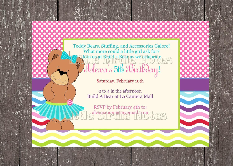 Teddy Bear PartyBuild A Bear BirthdayPrintableDIYLittle – Build a Bear Birthday Invitations