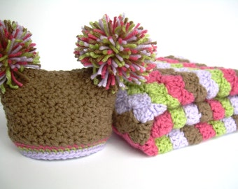 Baby Girl Gift Set, Crochet Baby Travel Blanket and Hat Gift Set, chocolate brown, raspberry pink, lilac purple, and sweet pea green