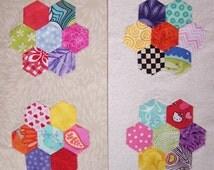 Hexagon Flower Quilt Sampler Block of the Month Pattern - english paper piecing