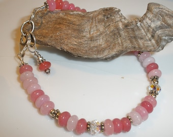Pink dyed Jade and sterling silver bracelet