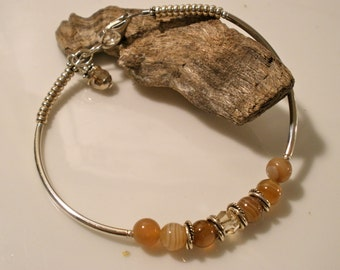 Holiday Special! FREE U.S SHIPPING Sterling silver beaded bangle bracelet with banded agate in tan amber
