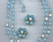 Dazzling vintage 2-strand necklace and earring set - Murano sommerso aqua and pink lampwork glass  beads
