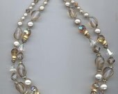 Lovely vintage Vendome 2-strand necklace - opalescent lampwork beads, faux pearls, Swarovski comet OR crystals