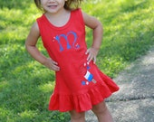 4th of July dress for girls -- Bomb Pop Ruffle Dress -- Monogrammed dress -- red, white, blue and bling