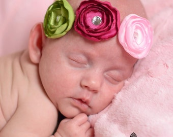 Pink Garden Satin Flower Headband