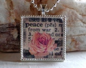 PEACE - Inspirational Words Christian Glass Pendant Necklace - Dictionary Words Pendant - Floral Pendant...Mother's Gift