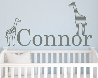 Giraffes with Personalized Name Wall Decal