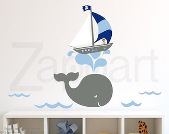 Wall Decal Whale & Boy Sailboat with Personalized Name Wall Decal