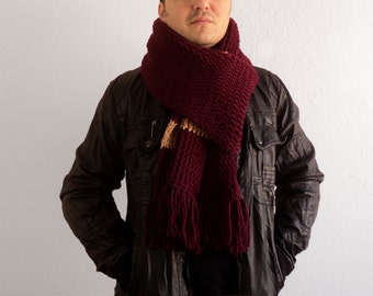 Winter Sale - Dark Red Knitting Scarf - Red Extra Long Scarf - Cowl - Hand Knit Neckwarmer for Men, ready to ship