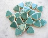 Robins Egg Blue Triangle Stoneware Ceramic Tiles