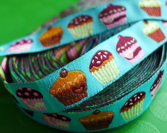 Cup Cakes -Woven Jacquard Ribbon - 1.5cm  x 1 meters (JR-009)